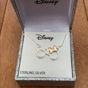 Disney Sterling Silver Mickey and Minnie Necklace